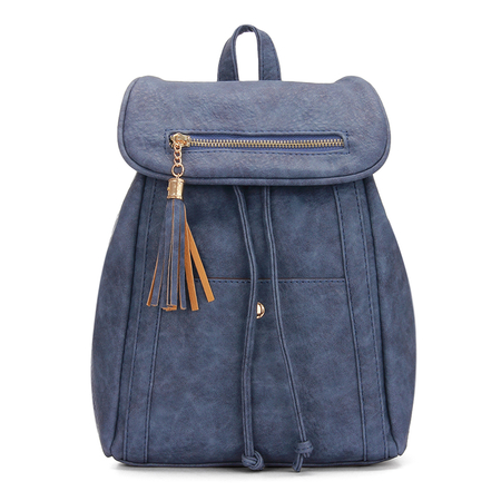 Textured Leather-look Backpack in Navy with Tassel