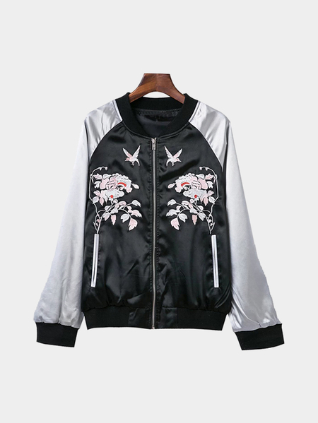 Black And Silver Splicing Embroidery Bomber Jacket