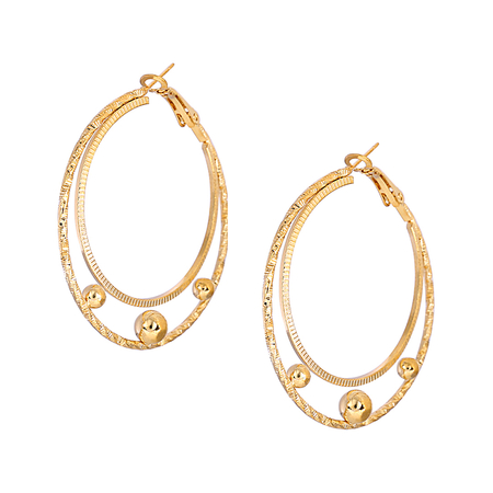 Double C Letter Shape Gold Plated Earring Set