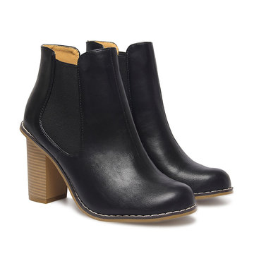 Leather-look Elastic Heeled Ankle Boots