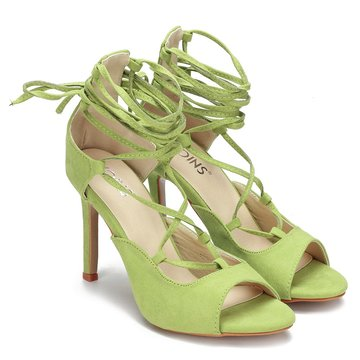 Green Crossing Strap Lace-up Ladies Heels