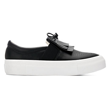 Cuir noir Regardez Slip-on Souliers simple avec Tassel Détail