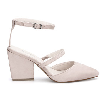Pink Pointed Toe Single Strap Over Ladies Heels