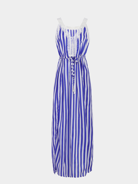 Stripe Motif col V splited Hem taille coulissée Maxi Dress