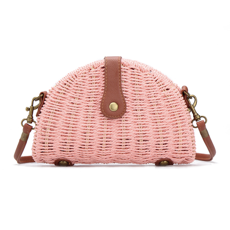 Pink Straw-woven Shoulder Bag With Flap Top