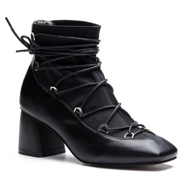 Preto Lace-up Square Toe Chunky Heels Botas Curtas