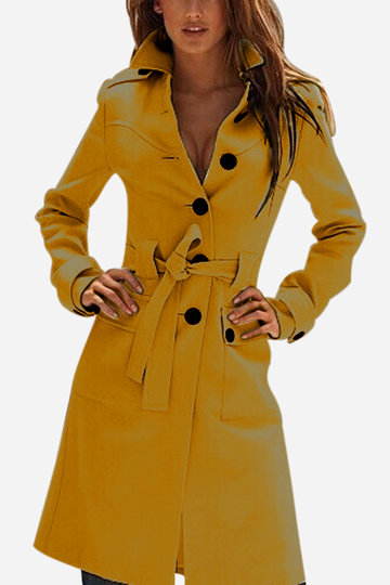 Yellow Classic Collar Single Breasted Design Tweed Trench Coat