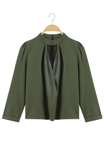 Army Green High Neck Hollow Out Pleated Zipper Back Shirt