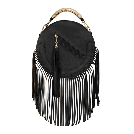 Rodada do Couro-olhar Fringe ouro Top Handle Bag in Black