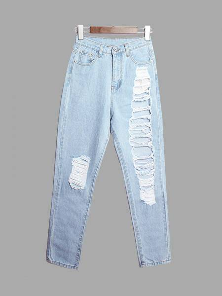 Boyfriend Jeans Avec Shredded Rips