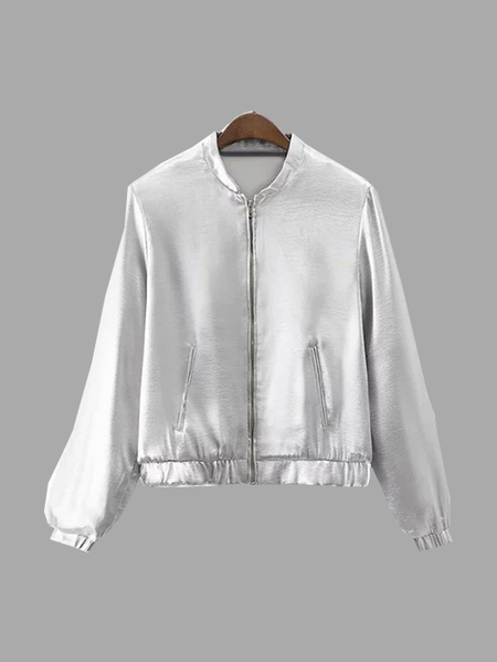Silvery Long Sleeves Flight Jacket with Side Zip Pockets