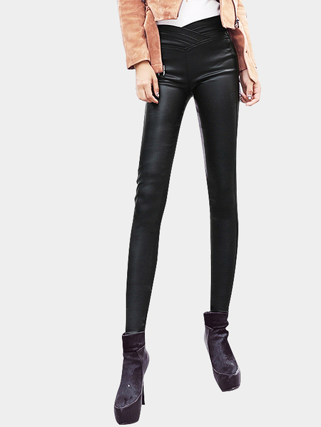 High Waist Leather-look Leggings