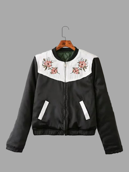 Black Embroidery Pattern Pocket Front Bomber Jacket