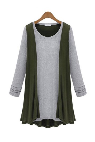Plus Size camicia verde a due-in-uno Cardigan