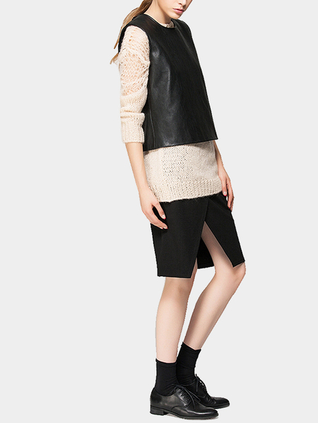 Black Gilet with Concealed Button Front