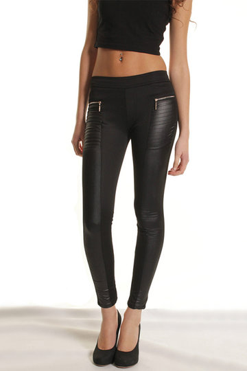Leather Details Zip Pockets Leggings