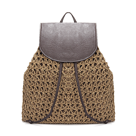 Coffee Straw-Woven Lined Beach Backpack with Flap Top and Drawstring