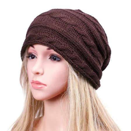 Coffee Fashion Crochet Knit Ribbed Beanie Hat