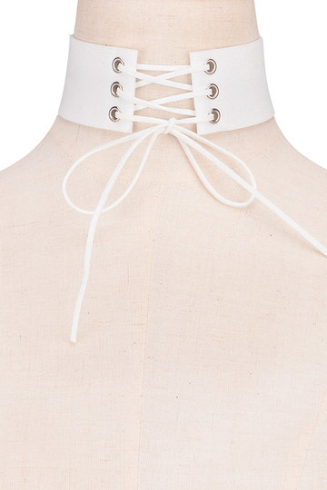 White Fashion Deer Leather Roundness Lace-up Necklace