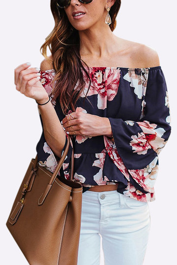 Off Shoulder Random Motif floral motif évasé Top