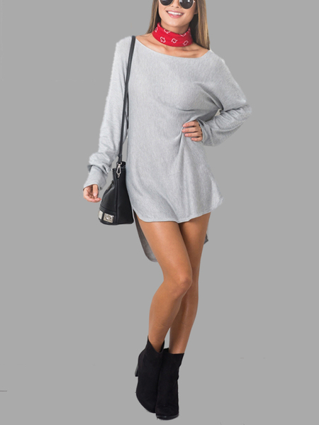 Grey Long Sleeves Curved Hem Mini Dress