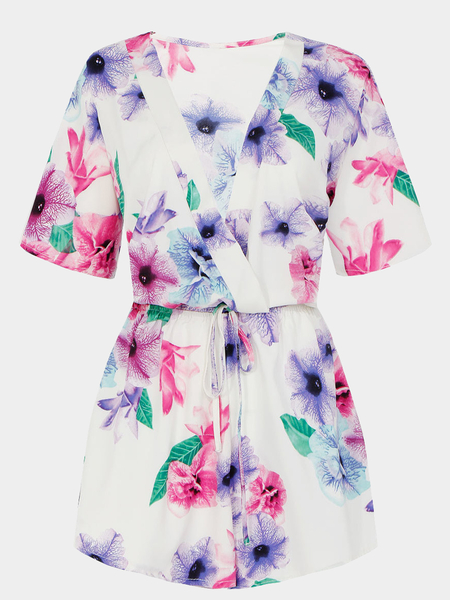 Floral Print Playsuit With Slim Waistband