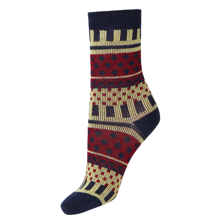 Keyboard Pattern Jacquard Crew Socks in Blue