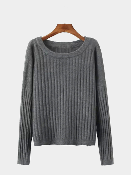Grey Loose Ribbed Knit Jumper