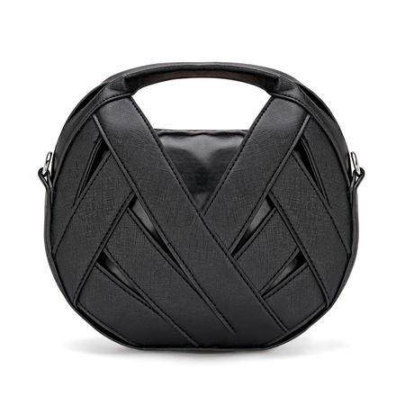 Irregular Micro Leather-look Top Handle Bag in Black