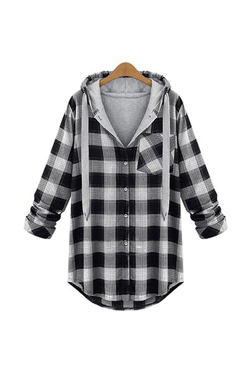 Plus Size Long Sleeve Grey Checked Top