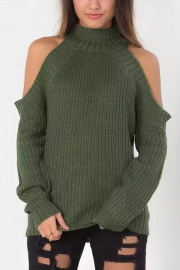 Green Fashion Cold Shoulder Raglan Jumper