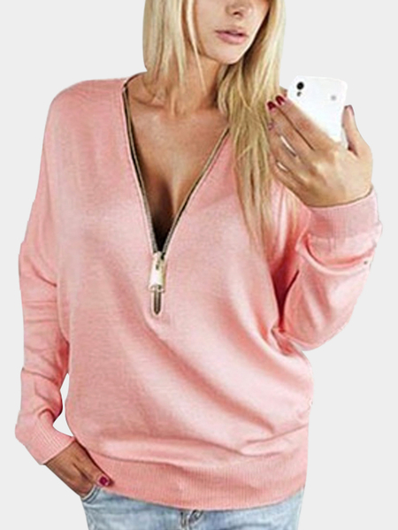 Pink Zipper V-neck Bat Sleeve Top