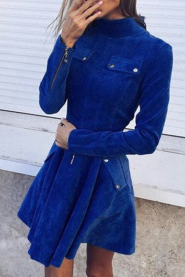 Navy Long Sleeves Shirt Dress with Four Pockets