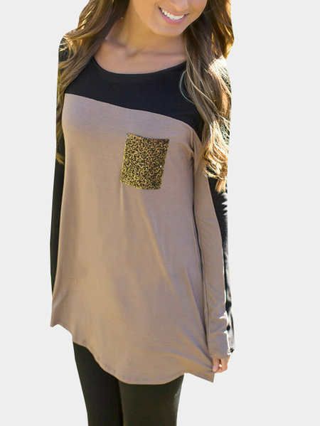 Color Block T-shirt With Sequin Pocket