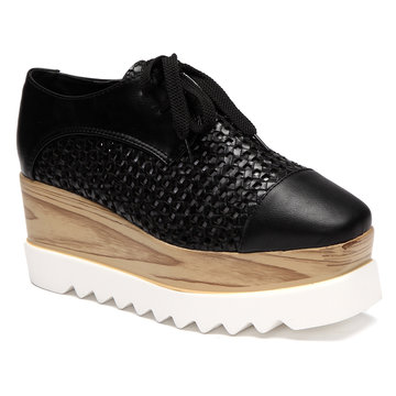 Black Hollow Design Lace-up Design Platfrom Shoes