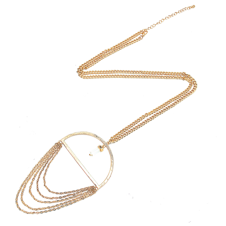 Semicircle Gold Chain Tassel Necklace
