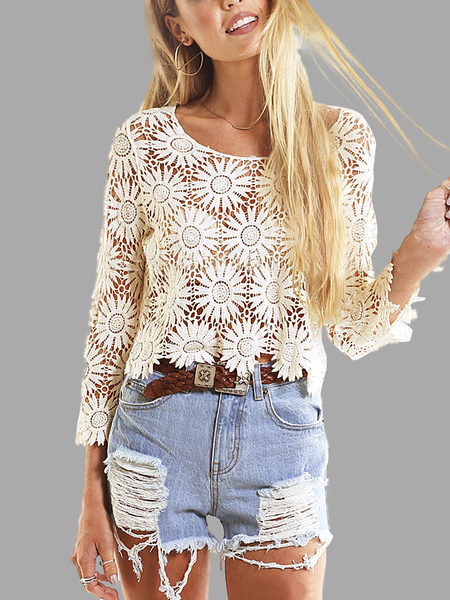 Hollow Out Lace Crop Top in Apricot