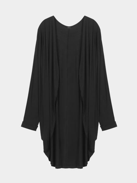 Black Plus Size Collarless Coat with Open Front