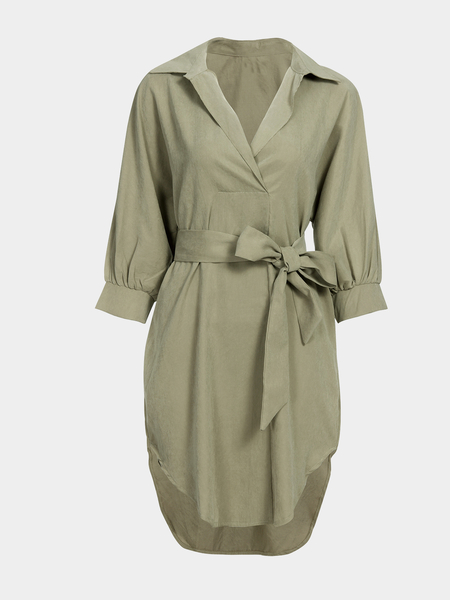Khaki Loose Lapel Long Sleeve Shirt Dress