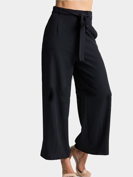 Black Palazzo Pants Cropped Trousers with Belt