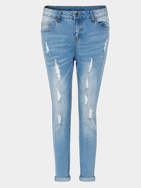 Boyfriend Jeans With Distressed Detail