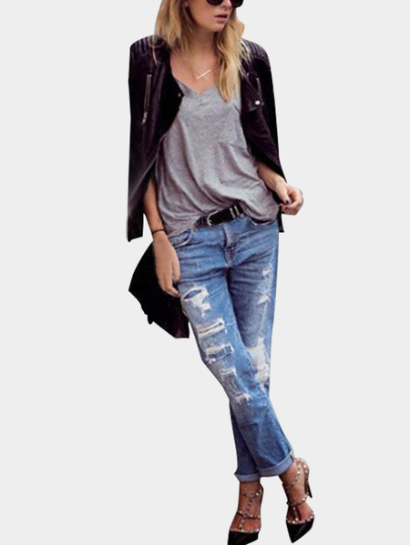 Middle-waisted Boyfriend Jeans with Ripped Details