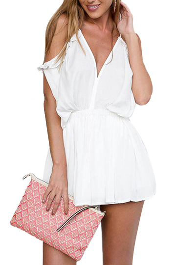 White Cold Shoulder Playsuit With Self-tie Strap