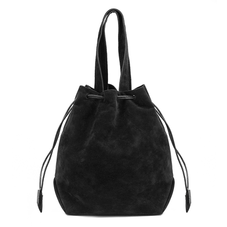 Black Suede-look Drawstring Bucket Bag