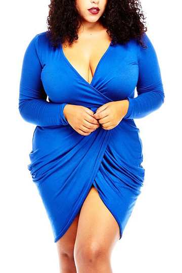 Blue Plus Size Plunge Neck Wrap Mini Dress