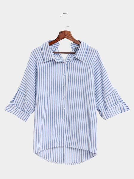 Casual Stripe Pattern Shirt In White And Blue