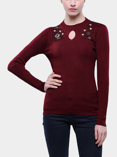 Wine Embellished Brooch Necklace Jumper