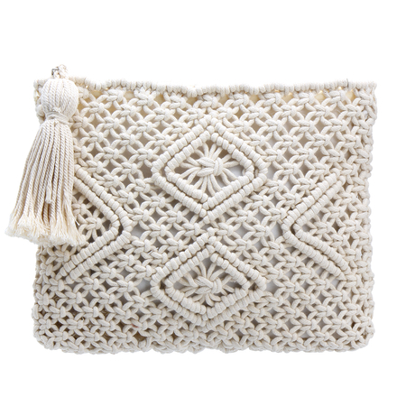 Beige Woven Square Zip Tassel Clutch Bag
