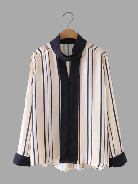 Special Neck Contrast Color Stripe Design Shirt
