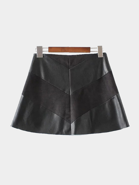 Black Suede & Leather Stitching Zip Back Fastening Skirt